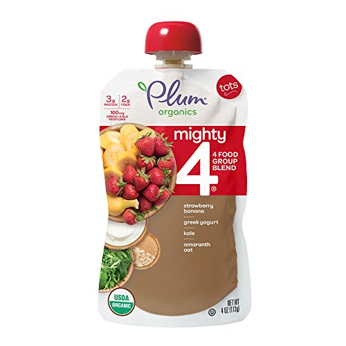- Plum Organics Mighty 4, Organic Toddler Food, Strawberry, Banana, Greek Yogurt, Kale, Amaranth and Oat, 4 ounce pouches (Pack of 12) (Packaging May Vary)