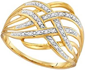 Roy Rose Jewelry 10K Yellow Gold Ladies Diamond Woven Cocktail Ring 1/20 Carat tw ~ Size 10