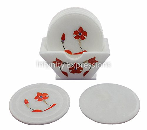 (3.5 inch Marble Coaster (Set of 5) BEER/ COFFEE TAJ HERITAGE Floral Design Decorative Pietra Dura/ Pacchi Kari Semi Precious Stone Inlay work - HANDMADE)