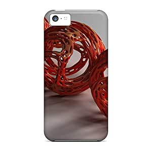 Premium Spherical Red 3d Heavy-duty Protection Cases For Iphone 5c
