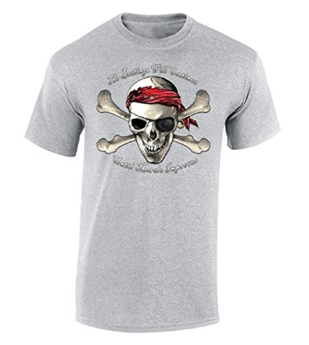 The Beatings Will Continue Until Morale Improves T-shirt Pirate Skull Shirt XL Gray (Customs Halloween Pirate)