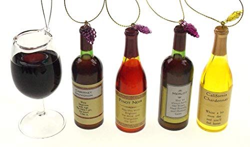 Hickoryville Acrylic Wine Bottle Christmas Ornaments Bundled with Wine Glass Ornament ()