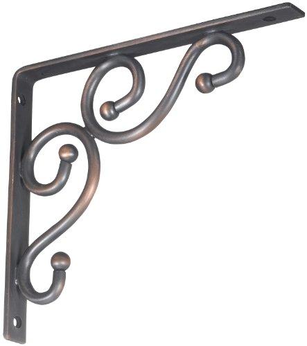 stanley hardware 7 by 8 inch traditional shelf bracket satin bronze 250592 - Decorative Metal Shelf Brackets