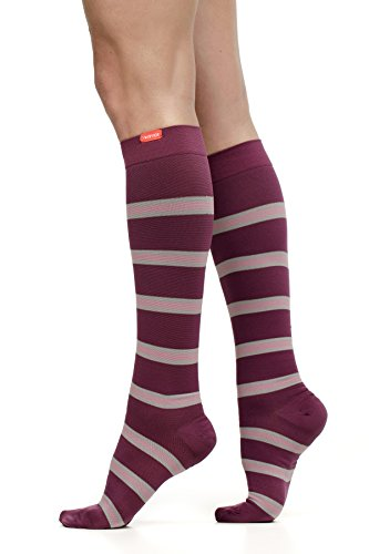 Floral Stripe Mauve - VIM & VIGR Women's 20-30 mmHg Compression Socks: Work to Play Stripe - Plum & Mauve (Nylon) (Wide Calf)