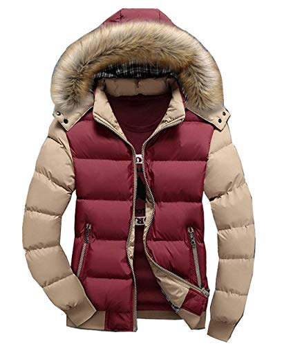 Hooded Brands Long Men's Down Coat Fashion Jacket Outwear Lightweight Cotton Coat Sleeve Down Thick Redkhaki Alternative Winter Warm Jacket zXrXqPR
