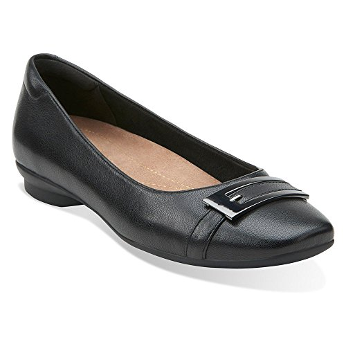 Clarks Women's Candra Glare Black Leather 7.5 D - Wide qHHhUIu
