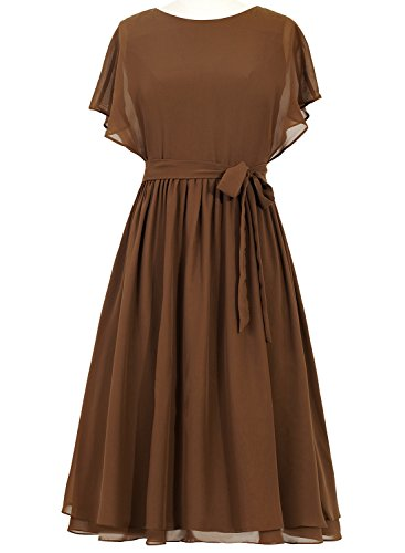 Preferhouse Mother of the Bride Dress Plus Size Tea Length Wedding Guest Dress US18W Brown