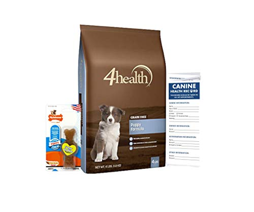 (4health Grain Free Premium Puppy Dog Food (4 lb) Bundle Including Nylabone Teether and Canine Health Record Tracker)