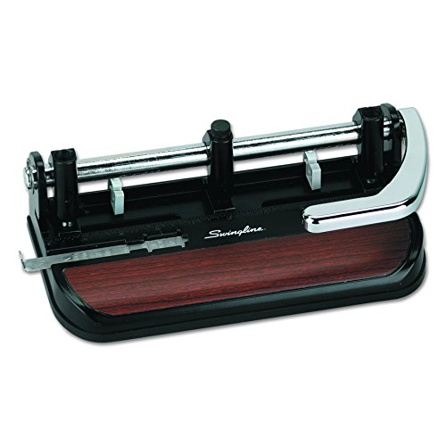 unch, Adjustable, Heavy Duty Hole Puncher, 40 Sheet Punch Capacity, Chrome/Black/Woodgrain (74400) ()