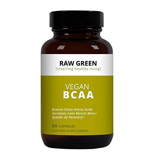 Raw Green Organics - Vegan BCAA - Branch Chain Amino Acids Increase Lean Muscle Mass - 60 Plant Capsules by Raw Green Organics