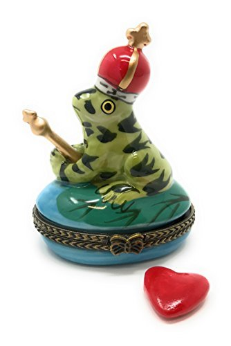 (King of the Pond Frog Porcelain Trinket Box with Tiny Heart Inside, 2.5 Inches Tall)