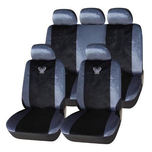 Decorative Car Seat Covers (Adeco 9-Piece Velvet Car Vehicle Protective Seat Covers, Universal Fit, Black/Silver, Embroidered Butterfly Detail)