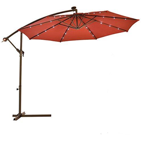 10FT Burgundy Patio Solar LED Hanging Umbrellawith Cross Base