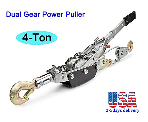 Zinnor 4-Ton Dual Gear Power Puller, Heavy-Duty Hand Puller with Cable Rope – 4 Ton Capacity, Dual (2) Gear, 3 Hooks – Come Along Cable Puller Tool (2-5days & USA Shipping)