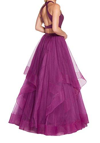 Damen Tuell 2018 Abendkleider Neu Violett Promkleider Prinzess Ballkleider Charmant Abschlussballkleider Violett Linie Quincenera A AFxAw