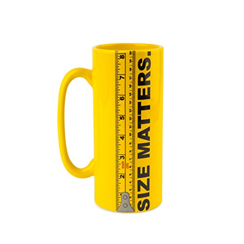 """BigMouth Inc""""Size Matters"""" Coffee Mug, Ceramic Ruler Tall Cup Holds 32oz of Liquid, Yellow"""