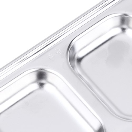 Freebily Glazed Stainless Steel Dipping Bowl Sauce Dish Snack Tray Condiment Relish Dip Bowls 2-Grid One Size by Freebily (Image #3)