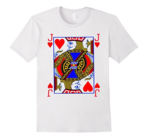 Men's Jack of Hearts Playing Card Poker Card Costume Tee Shirt Medium White (Playing Card Costumes)
