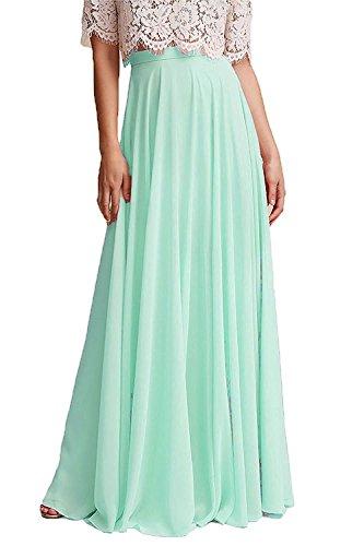 Omelas Women Long Floor Length Chiffon High Waist Skirt Maxi Bridesmaid Party Dress (Mint Green, Custom Made)