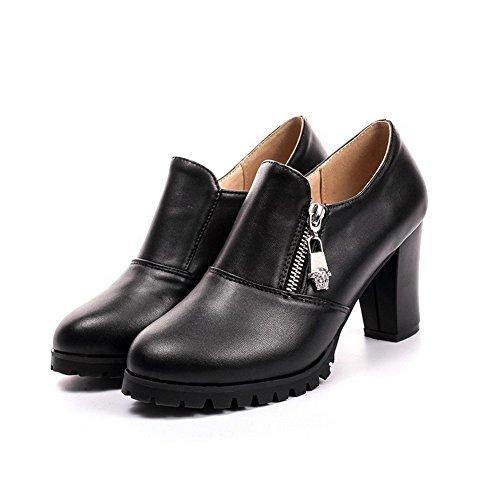 AllhqFashion Damen Hoher Absatz Rein Reißverschluss Weiches Material Rund Zehe Pumps Schuhe Schwarz