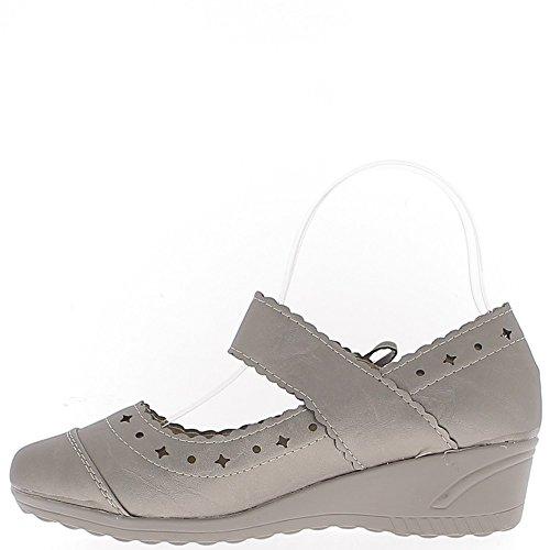 Las mujeres zapatos de bronce ala ancha de 4 cm de tacón de confort