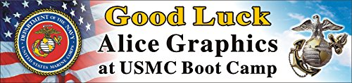 Alice Graphics 2ftX8ft Custom Personalized US Marine Corps Going Away Goodbye Farewell Deployment Party Banner Sign - Good Luck at USMC Boot Camp