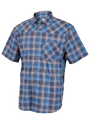 (Club Ride Apparel New West Biking Shirt - Men's Short Sleeve Cycling Jersey - Steel Blue Plaid - XL)