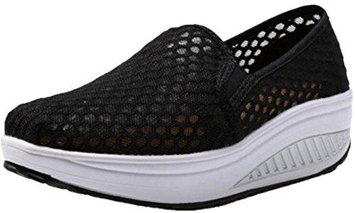 Volwassen Dames Shape Ups Mesh Walking Fitness Schoenen Fashion Sneakers Zwart