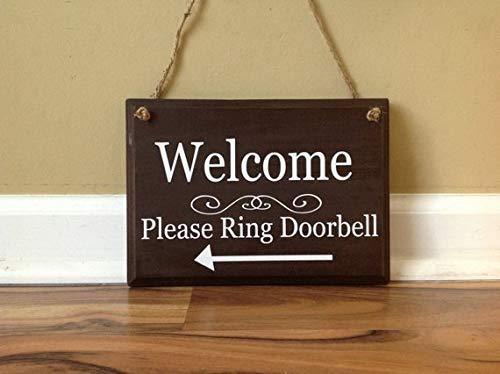 - MarthaFox 24×16cm Welcome Sign Please Ring Doorbell Arrow Front Door Wooden Sign Door Decor Hanging Sign Door knob Hanger Espresso Brown Hand Painted Sign CB 682660