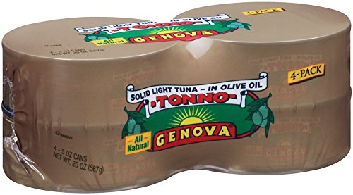 Genova Tonno Solid Light Yellowfin Tuna in Olive Oil, 5 Ounce  (Pack of 24) (Genova Tuna)