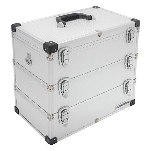 anndora® Werkzeugkoffer 41 Liter Angelkoffer Etagenkoffer 3 Ebenen Silber Alu