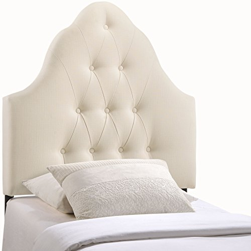 Modern Contemporary Twin Size Fabric Headboard, Ivory Fabric (Studded Headboard Nail)