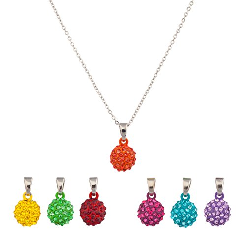 Lux Accessories Pave Crystal Fireball Simple Pendant Interchangeable Charm Necklace Set Yellow Green Red Pruple Synthetic Turquoise Kids Girls Women (7 Charms) (Interchangeable Pendant Hanger)