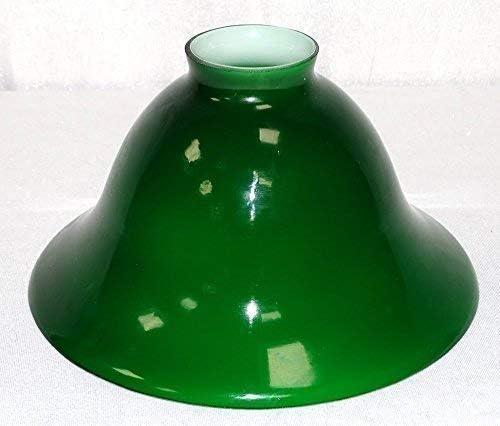 20 cm Lampenschirm Antiker Glas-Schirm Konisch geschweift Grün-Weiß