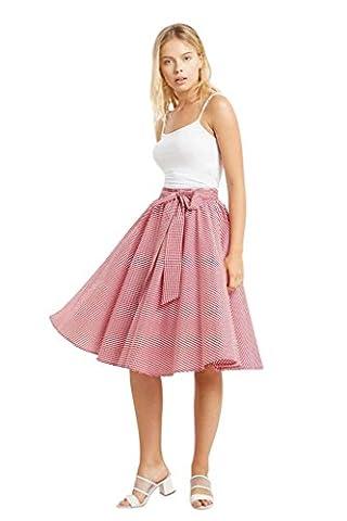 Women's Gingham Circle High Waist Bow Tie Cotton Midi Skirt USA Red M - Circle Print Tie