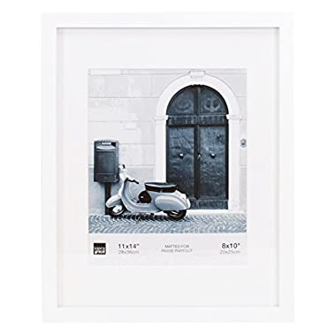Kiera Grace Contempo Picture Frame Matted for 8 by 10 Inch Photo, 11 by 14 Inch, White