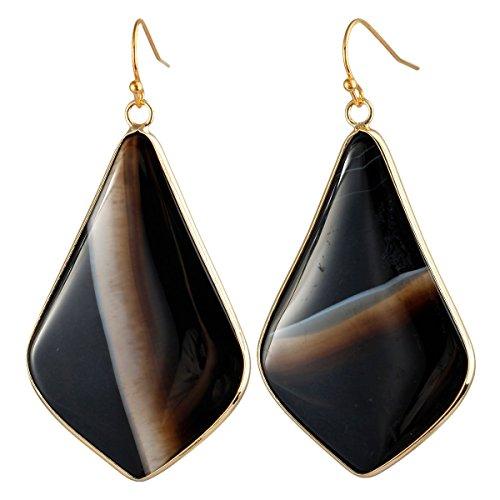 rockcloud Crystal Stone Dangle Earrings Gold Plated, Rhombus Shape, Black Striped ()