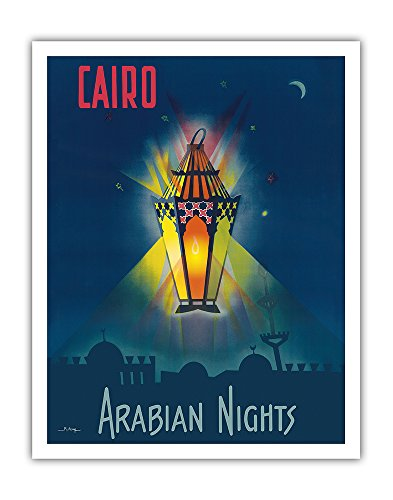 Pacifica Island Art Cairo Egypt - The Arabian Nights - One Thousand and One Nights - Aladdin's Magic Lamp - Vintage World Travel Poster by M. Azmy c.1946 - Fine Art Print - 11in x 14in by Pacifica Island Art