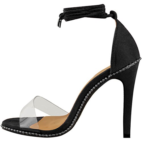 Perspex Black Lace Ankle Party up Faux Fashion Womens Size Sandals Heels Thirsty High Suede Tie Studs q8S0gwEO