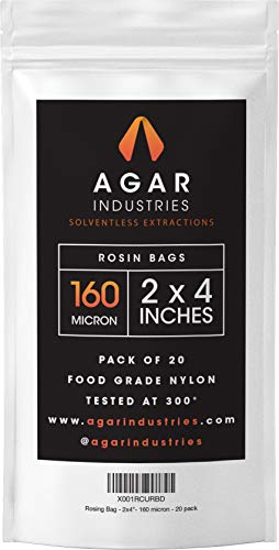 Agar Industries - Rosin Press Filter Bag -Screens for Solventeless Oil Extractions in Rosin Tech (20 pack, 2x4 in. 160 micron) by Agar Industries
