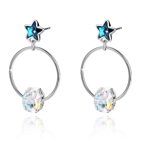 (CRYSLOVE Sterling Silver Star Stud Earrings for Women Simple Circle Crystal Drop Dangle Drop Earring for Mother's Gift)