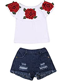Little Girls Off-Shoulder Rose Embrodidery Applique Ruffle Top and Denim Shorts Outfit