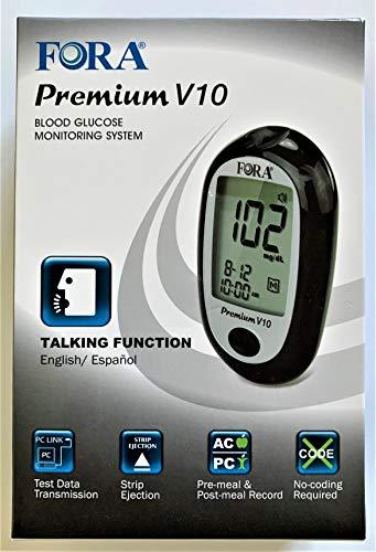 FORA Premium V10 Talking Blood Glucose Meter (English, Español)