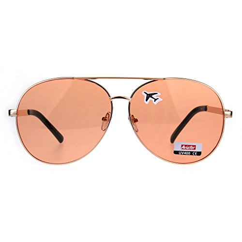 Oversize Flat Color Lens Metal Rim Officer Pilots Sunglasses - Sunglasses 6 Inch