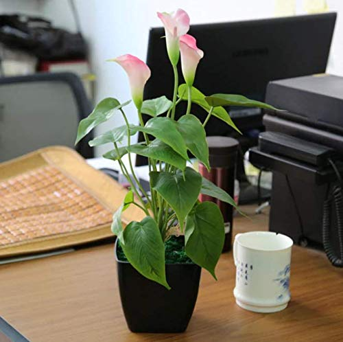 HANABO Artificial Pot Anthurium 16'' (40cm) Real Touch Office Desk Bonsai Flower Table Ornament Calla Lily Plant ()