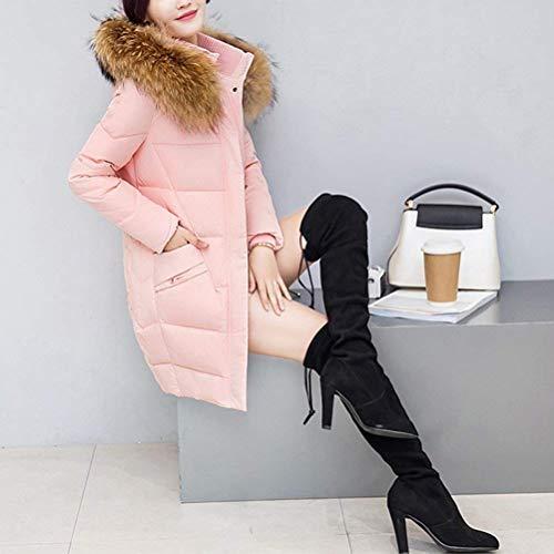 Rosa Coat Slim Tuta Parka Saoye Lunga Unita Collo Inverno Vestiti Fashion Fit Tinta Down Sportiva Frontali Calda Donna Pelliccia Cappuccio Zipper Manica In Tasche Con UqESw4q