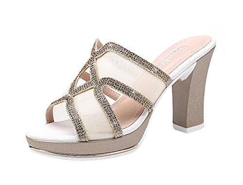 Cross Front Patent Heel (T&Mates Women's Cute Cross Open-Toe Block Heel Breathable Mesh Rhinestones Sandals (8)