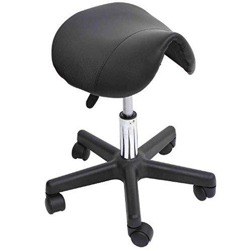 HomCom Adjustable Salon Stool Swivel Saddle Seat