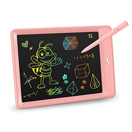 KOKODI LCD Writing Tablet, 10 Inch Colorful Toddler Doodle Board Drawing Tablet, Erasable Reusable Electronic Drawing Pads, Educational and Learning Toy for 2-6 Years Old Boy and Girls (Pink)