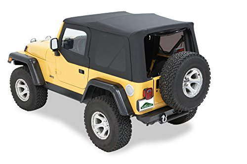 Bestop Jeep Wrangler Door - Pavement Ends by Bestop 51197-35 Black Diamond Replay Replacement Soft Top Tinted Back Windows w/ Upper Door Skins for 1997-2006 Jeep Wrangler